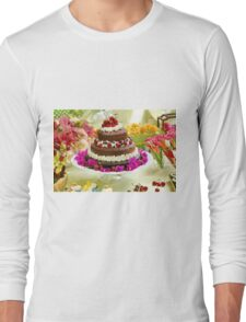 Layer cake decorated with whipped cream and cherries. Long Sleeve T-Shirt