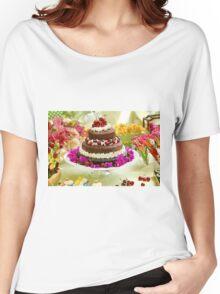 Layer cake decorated with whipped cream and cherries. Women's Relaxed Fit T-Shirt