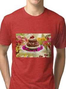 Layer cake decorated with whipped cream and cherries. Tri-blend T-Shirt