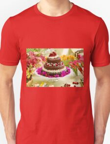 Layer cake decorated with whipped cream and cherries. Unisex T-Shirt