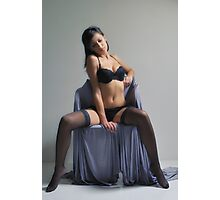 Elegant lady in black ingerie Photographic Print
