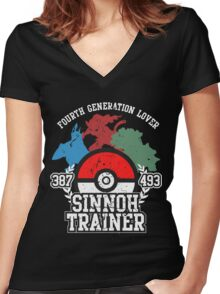 4th Generation Trainer (Dark Tee) Women's Fitted V-Neck T-Shirt