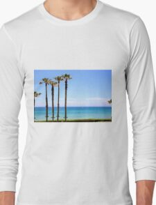 Palm trees on a beach. Photographed on the Mediterranean shore Long Sleeve T-Shirt