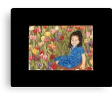 Crystal with tulips Canvas Print