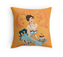 Cupcakes & Rosie Lee Pin-up Digital Illustration Throw Pillow