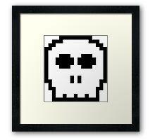 White Retro 8-bit Skull Framed Print