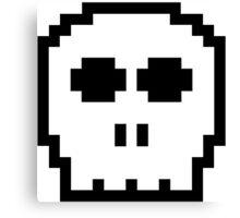 White Retro 8-bit Skull Canvas Print