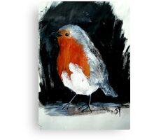 Robin Red Breast Wild Bird Acrylic Painting Canvas Print