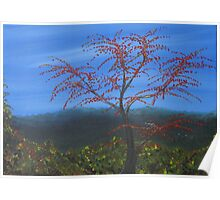 Red Leaved Tree Poster