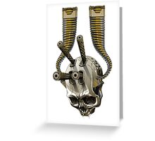 machine gun skull Greeting Card