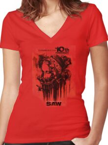 Saw Horror Movie Women's Fitted V-Neck T-Shirt