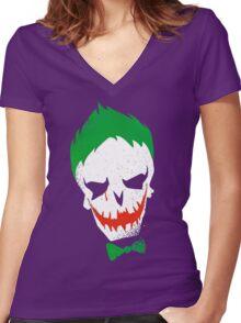 Suicide Squad-Joker (white) Women's Fitted V-Neck T-Shirt
