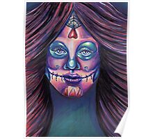 Serenity-Mixed Media Drawing of a Day of the Dead Girl Poster