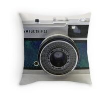 Olympus Trip 35 in Turquoise Snakeskin Throw Pillow