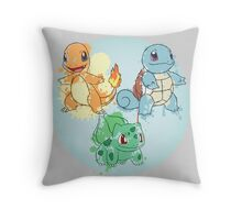 Starter Pokemon Splatter Throw Pillow