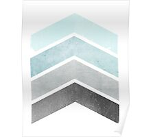 Ice Blue Chevrons Poster