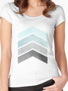 Ice Blue Chevrons Women's Fitted Scoop T-Shirt