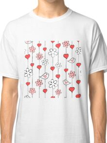 Bird, Flower and Heart Pattern Classic T-Shirt