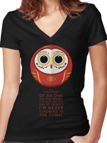 Owl on the Prowl Women's Fitted V-Neck T-Shirt