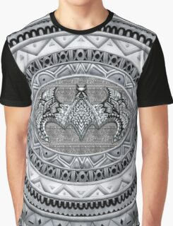 Bat God Black and white Aztec Pattern Graphic T-Shirt