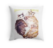 Cat Snuggles Throw Pillow