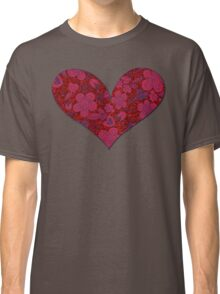 Red & Black Floral Doodle Glitter Heart Classic T-Shirt