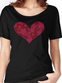 Red & Black Floral Doodle Glitter Heart Women's Relaxed Fit T-Shirt