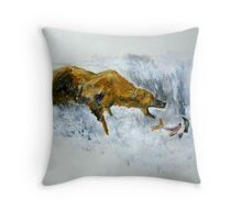 Grizzly Bear Fishing For Salmon Fine Art Print Of Acrylic Painting Throw Pillow