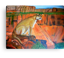 MOUNTAIN LION IN THOUGHT Canvas Print