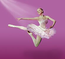 Leaping Ballerina in Pink and White by Delores Knowles