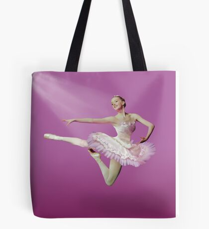 Leaping Ballerina in Pink and White Tote Bag