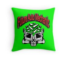 Auto Mechanic Skull Design Throw Pillow