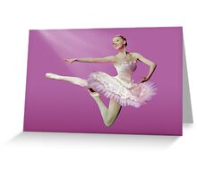 Leaping Ballerina in Pink and White Greeting Card