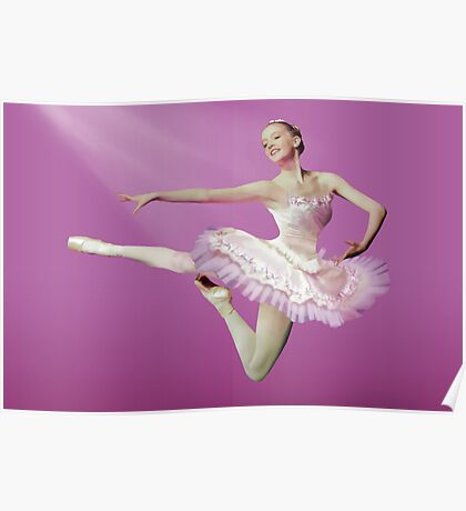 Leaping Ballerina in Pink and White Poster