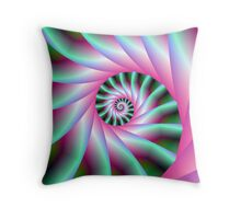 Pink and Green Spiral Steps Throw Pillow