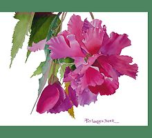 Pink Ruffled Begonia Throw Pillow (Green Background) by Pat Yager
