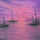 Sails at dusk by Holly Martinson