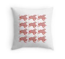 a dozen red bees Throw Pillow