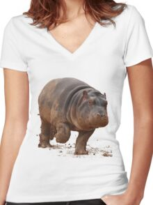 Baby Hippo on the Run: Tee Women's Fitted V-Neck T-Shirt