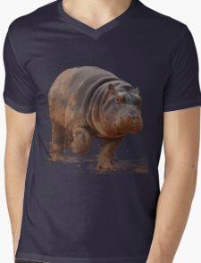 Baby Hippo on the Run: Tee Mens V-Neck T-Shirt