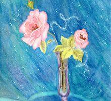 Pink Roses on Blue by Linda Ginn Art
