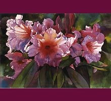 Autumn Gold Rhododendron Watercolor Throw Pillow by Pat Yager