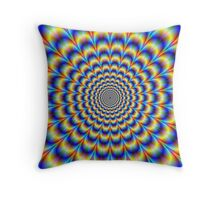 Psychedelic Pulse in Blue and Yellow  Throw Pillow