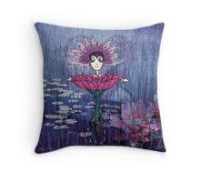 Girl Quirky—Lotus Throw Pillow Throw Pillow