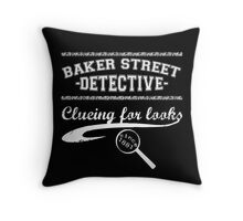 Baker Street Detective (White) Throw Pillow