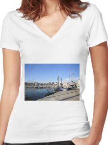 France, Marseille, fishing harbour on th coast Women's Fitted V-Neck T-Shirt