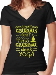 Grandma Does Yoga Women's Fitted V-Neck T-Shirt