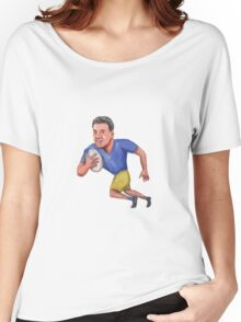 Rugby Player Running Ball Caricature Women's Relaxed Fit T-Shirt