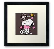 Happy Valentines Day Snoopy Framed Print