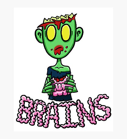 Zombie Eating Brains Photographic Print